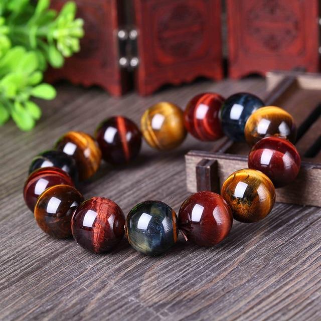 Joursneige Natural Color Tiger Eye Stone Bracelet 12 20mm Beads Crystal For Men Women