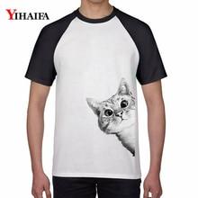 Men Women Funny T Shirts Hiding Cat 3D Print Animal Graphic Tees Casual Cotton Tee Tops Unisex Short Sleeve Streetwear