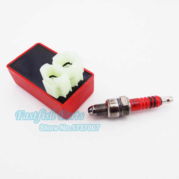 Red 6 Pin AC CDI + A7TC Spark Plug 3 Electrode For GY6 50cc 125cc 150cc  Moped Scooter Motorized Bike Bicycle Parts