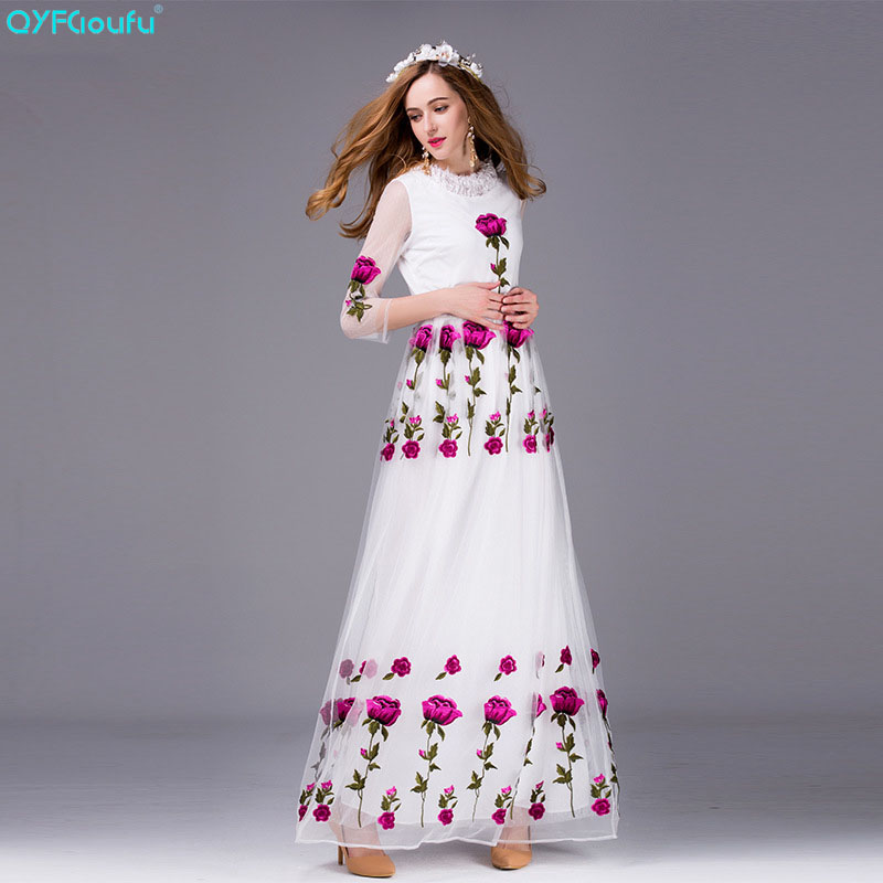 QYFCIOUFU High Quality Luxury Runway Maxi Dress Women's Long Sleeve Fashion Designers Tulle Floral Embroidered Dress 3 Colors