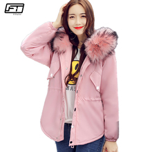 Fitaylor 2017 Hot Sale Winter Loose Jacket Women Coat Hooded Fur Collar Parka Mujer Solid Casual Down Cotton Short Overcoat