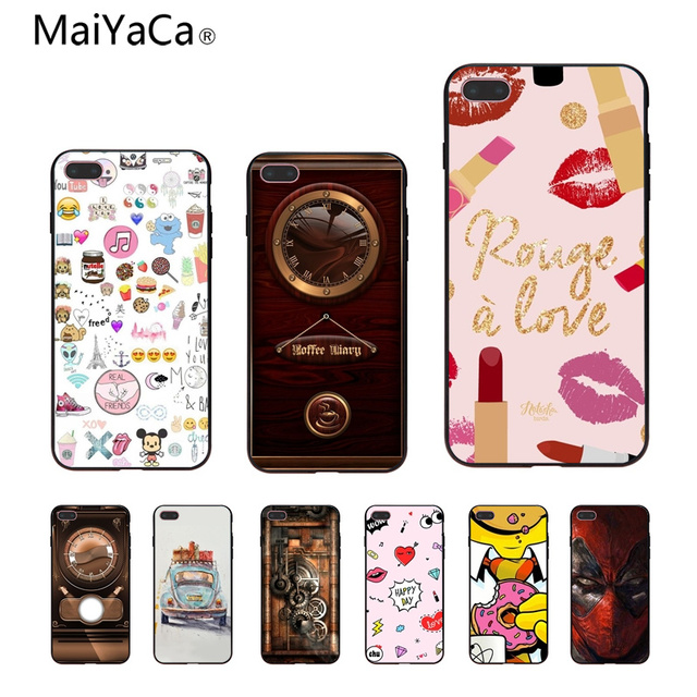 MaiYaCa European Retro Wallpaper Black TPU Soft Rubber Phone Case For Apple IPhone X 8 8plus