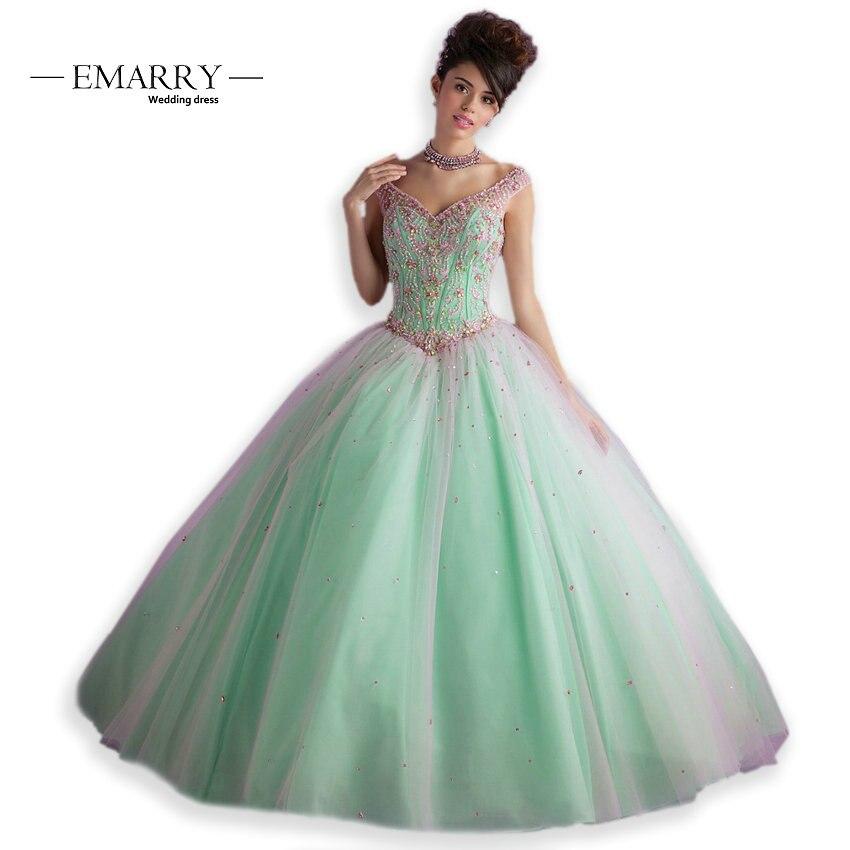 IM059 nouveau 2019 Quinceanera robes pour 16 15 ans col en V robe de bal robe de bal de luxe perlé corsage vestido de festa longo