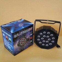 Diodo emissor de luz 18x3 w 54 w de alta potência rgb/uv par luz com dmx512 mestre escravo led plana dj equipamentos controlador