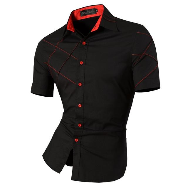 2017 Multifunción Verano Shirts Hombres New Business Casual color Sólido Camisa de Manga Corta Slim Fit Camisas Masculinas Colección S