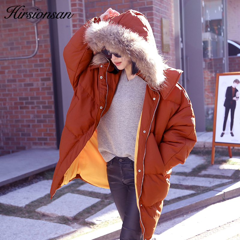 Hirsionsan Winter Jacket Women 2017 Korean Oversized Parka Fur Collar Hooded Winter Coat Long Cotton Padded Female Thick Parkas mikialong hooded fur collar women parka 2017 thick warm long padded winter jacket women solid oversized cotton quilted coat
