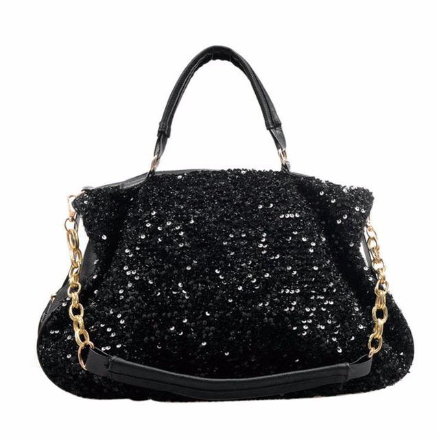 2016 mulheres moda lantejoulas saco Satchel meninas mensageiro alça de corrente sacos bolsas tipóia no ombro Crossbody sacos