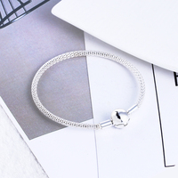 2017 New 100% 925 Sterling Silver Mesh Basic Bracelet with Logo Fit for European Charms Beads DIY Jewelry for Women Christmas