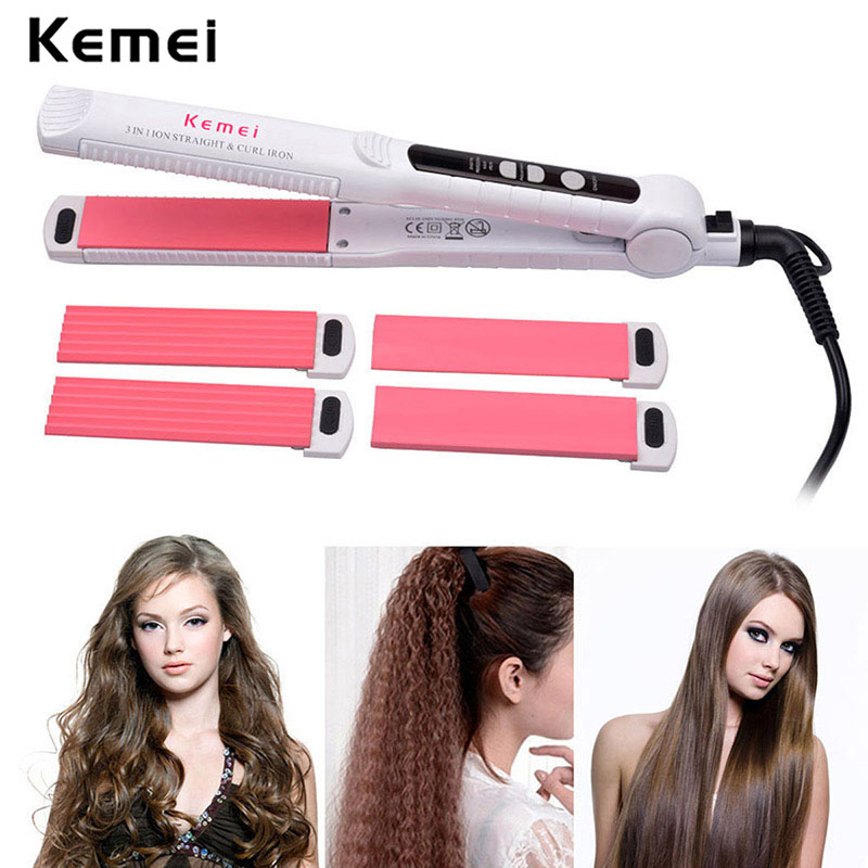 110-240V Kemei Curling Iron Hair Curler Straightener Ceramic Hair Curling Straightening Corrugated Hair Curler Styling Tools 3 in 1 hair curler rollers straightener iron interchangeable hair curling iron hair straightening corrugated iron styling tools