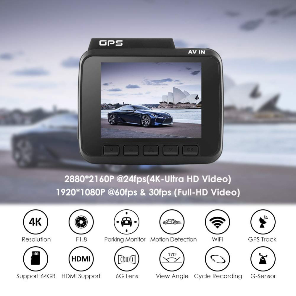 GS63H 4K Built in GPS WiFi Car DVRs Recorder Dash Cam Dual Lens Vehicle Rear View Camera Camcorder Night Vision Dashcam