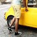 Simwood 2016 Nova Marca Mens Calções de Praia Ocasional Calções de Impressão de Algodão de Moda Na Altura Do Joelho dos homens Homme Frete Grátis KD524