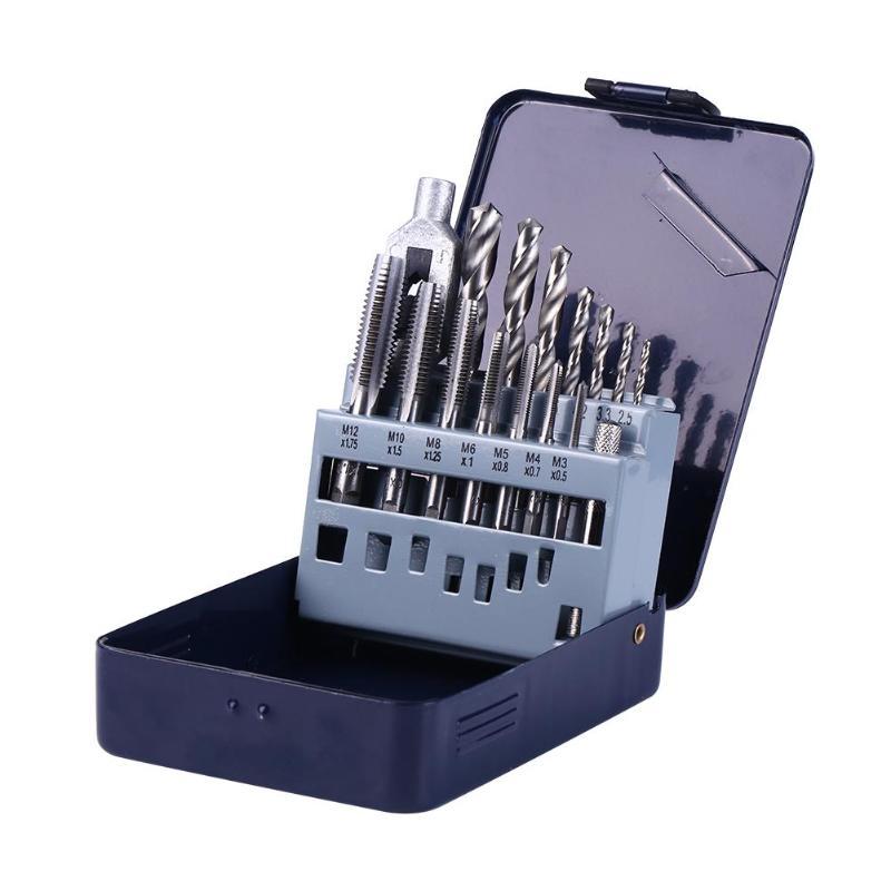 Portable 15pcs/Set M3 M4 M5 M6 M8 M10 M12 Spiral Point Screw Taps Drift Holder Drill Bits Hand Tools