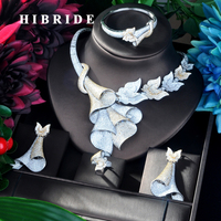 HIBRIDE Big 4 pcs Double Tone Pendant Gold Color Luxury Women Jewelry Set For Bridal Party Accessories Jewelry Party Gifts N 920