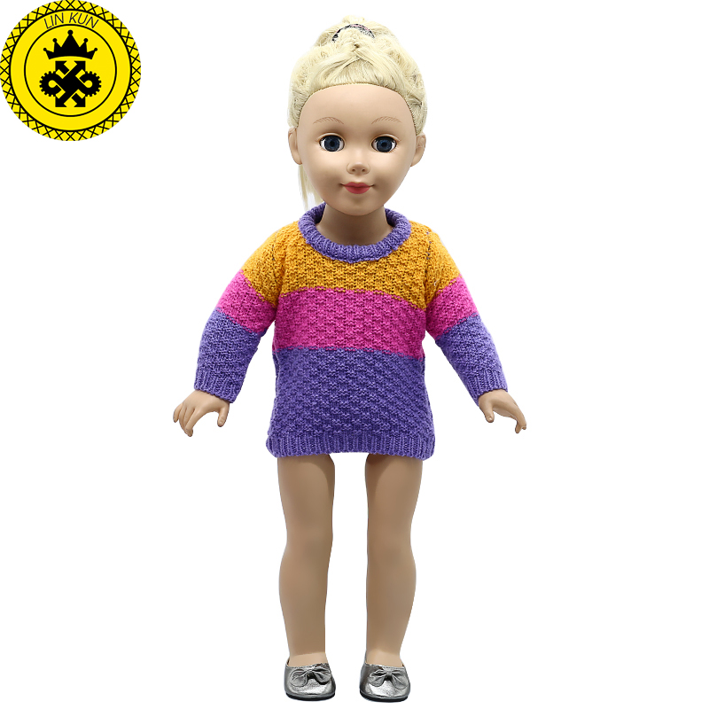 American Girl Doll Clothes Multicolor Wool Sweater fit 18 inch Dolls Baby Born Doll Accessories MG-335 american girl doll clothes superman and spider man cosplay costume doll clothes for 18 inch dolls baby doll accessories d 3