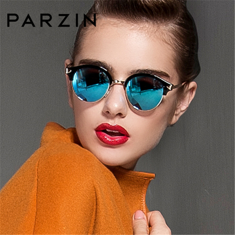 PARZIN Brand Punk Sunglasses For Women Retro Round Frame Glasses Real Polarized Sun Glasses Multilayer Coating
