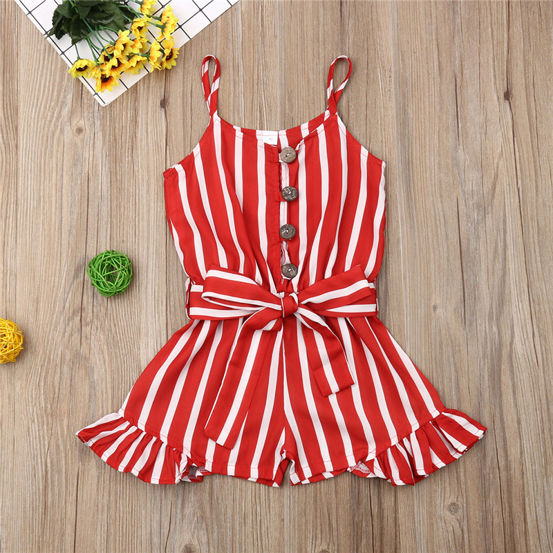 Toddler One-Pieces Rompers 2019 Kid Baby Girl Clothes Sleeveless Stripe Print Romper Red Sleeveless Jumpsuit One Piece Outfit