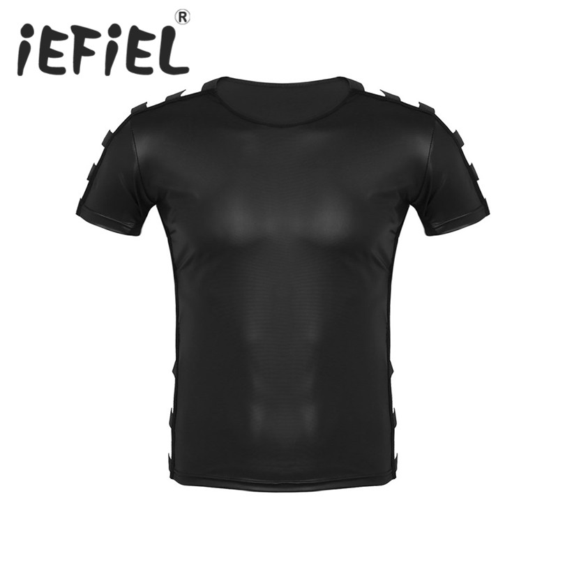 iEFiEL Fashion Soft Faux Leather Short Sleeve Round Neck Cut Out Elastic Pullover Muscle Clubwear Stage Costume T shirt Tops