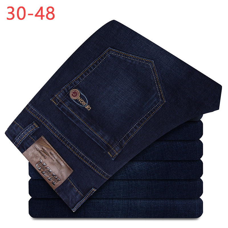 2019 Summer Big Size 30-48 Denim Jeans Men Baggy Pants Male Jogger Pants Classic Plus Trousers Business Casual Overalls CQY07