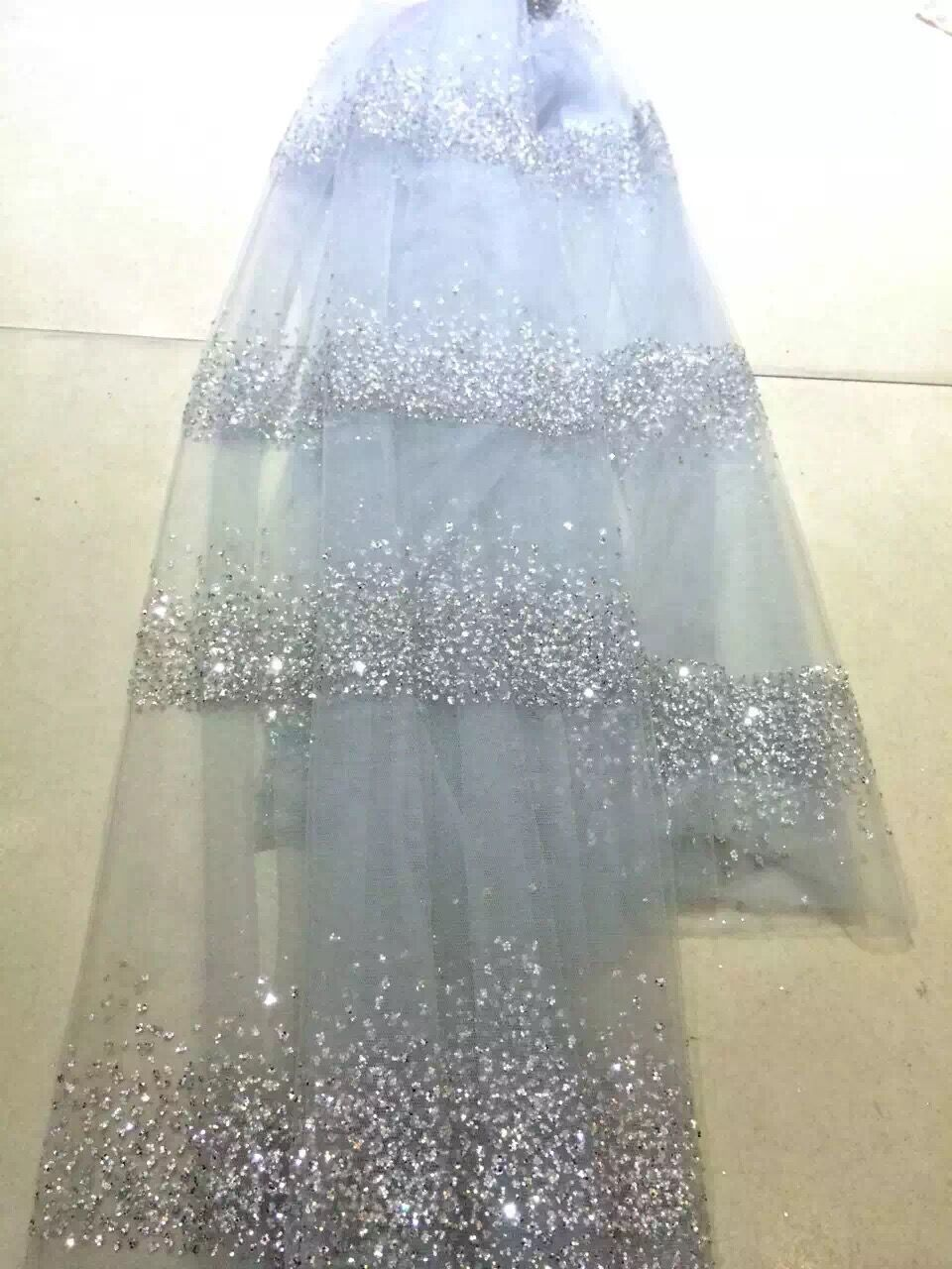 Latest African Lace Fabric high quality Z han9549 print glued glitter powder mesh tulle lace for