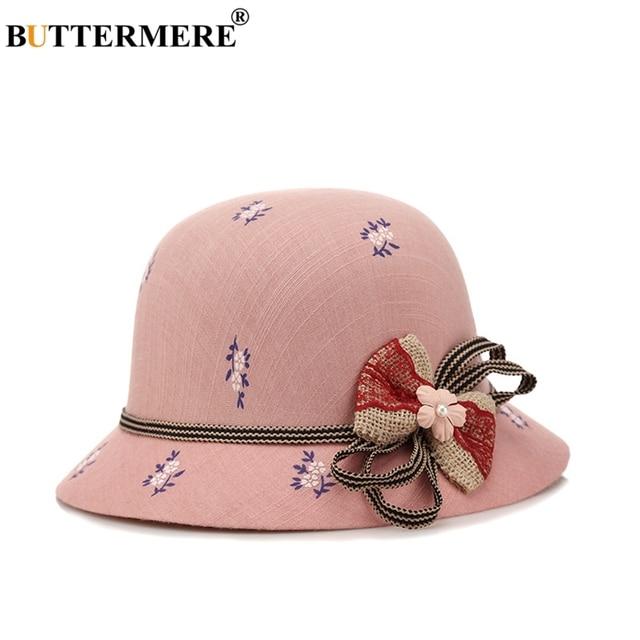 885ca51e172 BUTTERMERE Womens Bucket Cap Cotton Female Bow Tie Vintage Elegant Fishing  Caps Flower Printed Autumn Spring Bucket Hat Fedora