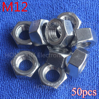 M12 hex nuts 12mm Silvery hexagon nut 304 stainless steel A2 70 nuts against rusting No rust durable General accessories 50pcs