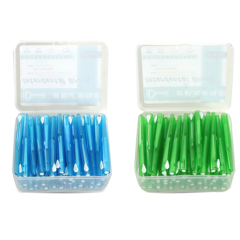 60Pcs Push-Pull Interdental Brush 0.7 MM Dental Tooth Pick Interdental Cleaners Orthodontic Wire Toothpick ToothBrush Oral Care