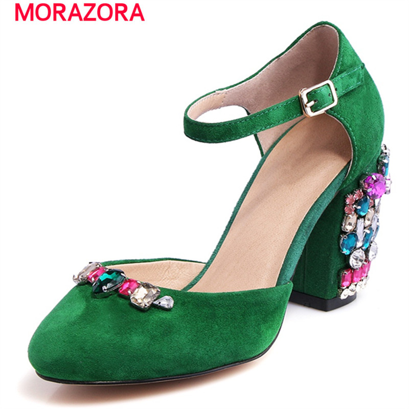 Фотография MORAZORA 2017 Two colors women sandals high heels shoes buckle shallow rhinestone party shoes fashion popular genuine leather