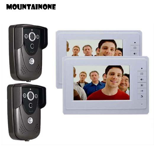 MOUNTAINONE 7 Colorful Video Door Phone Doorbell Intercom IR Night Vision Camera Monitor for Home Security 2cameras+2monitor