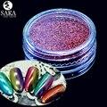 Sara Espejo Holográfico Nail Salon Nail Art Glitter 12 unids Opcional Polvo Polvo de Pigmento Lentejuelas Decoración Set + Brush #01-12