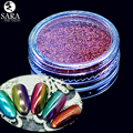 Sara Nail Salon Holographic Mirror Nail Art Glitter 12 pcs Optional Dust Powder Pigment Sequins Decorations Set + Brush #01-12