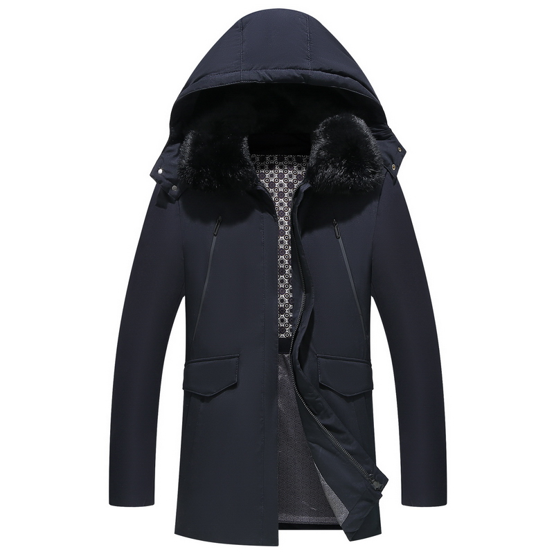 € 60.03 50% de réduction|Imperméable épais hiver hommes doudoune marque vêtements à capuche chaud canard manteau veste mâle coupe vent Parka grande