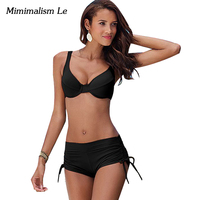 Minimalism Le Sexy Push Up Bikini 2017 New Women Swimsuit High Waist Bandage Bikini Set Beach
