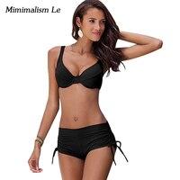 Minimalism Le Sexy Push Up Bikini 2017 New Women Swimsuit High Waist Bandage Bikini Set Beach