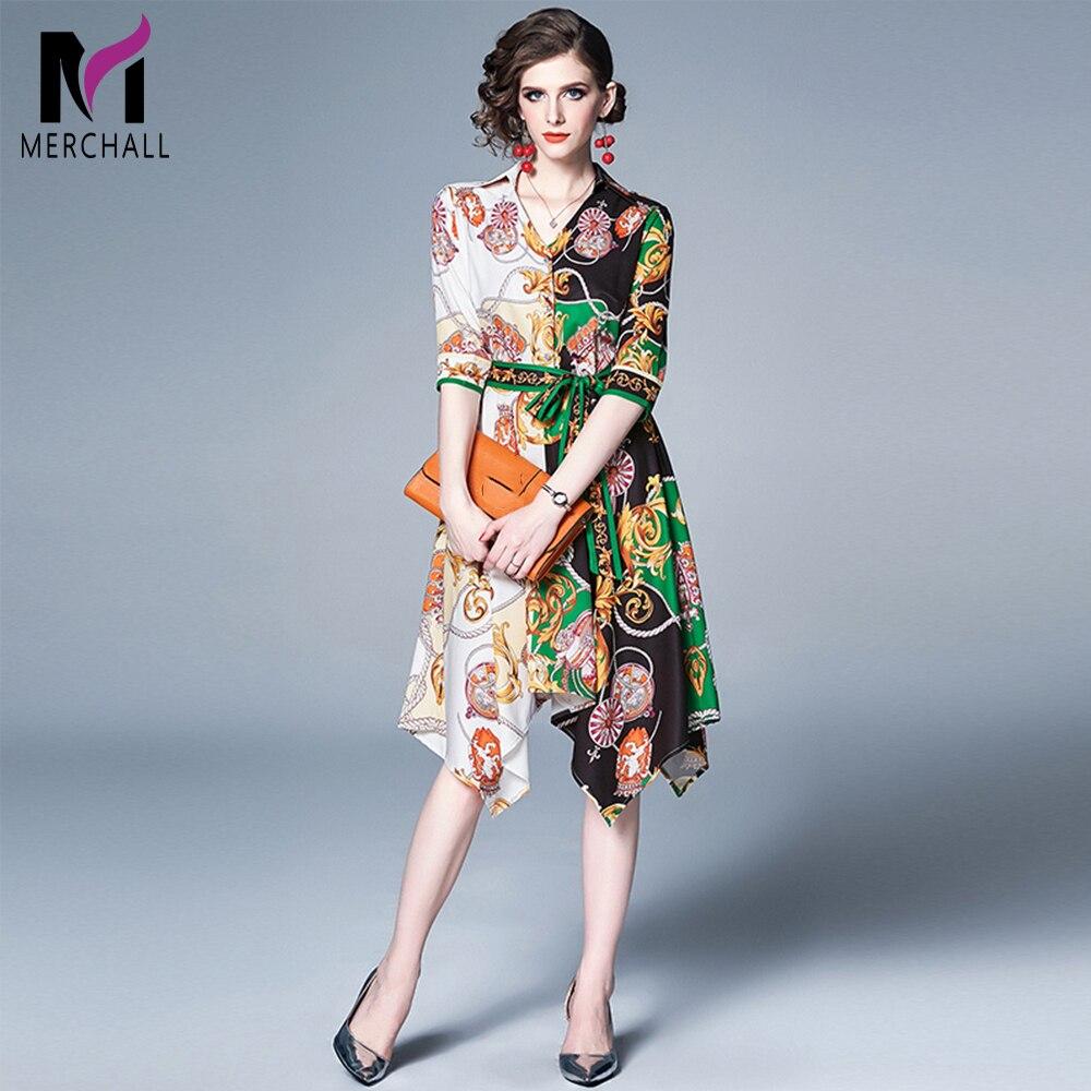 Merchall High Quality Summer Custom Made Dress Women's Fashion Contrast color Printed Vintage Runway Midi Dresses Vestdios