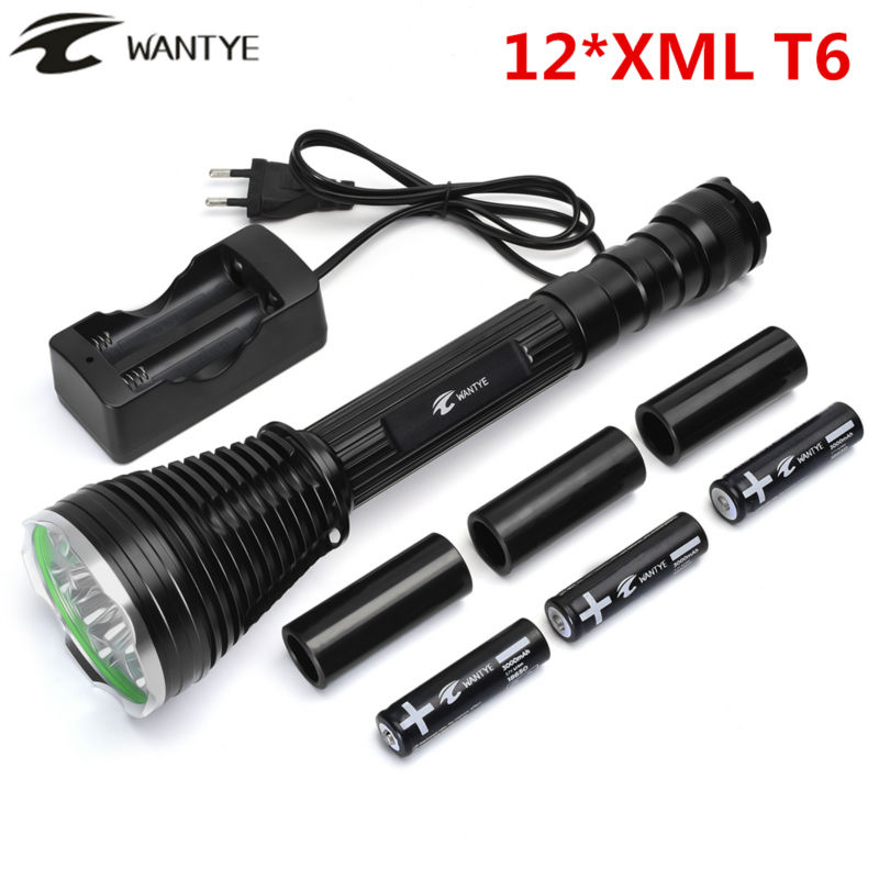 24000Lm Flash light 12* XML T6 Self defense 12T6 LED Flashlight Torch 5-Modes Camping Hunting lamp+3x18650 battery charger цена и фото