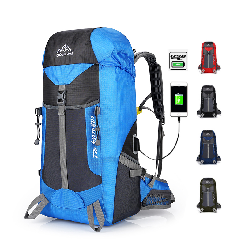 45L High capacity Waterproof Hiking Outdoor Bags Nylon Camping Travel Backpack Ultralight Mountain Climbing USB Charging camel mountain 45l backpack page 7