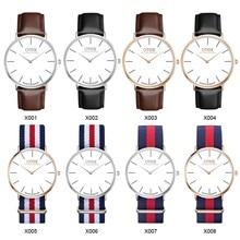Classic Nylon stripes Watches 2016 OTEX Luxury Brand Simple Super thin Quartz Watch men Women Lovers