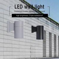 최대 알루미늄 실린더 led 벽 빛 야외 방수 현대 스타일 듀얼 헤드 3 w 36 w 벽 램프 AC85-265V 정원 현관 조명
