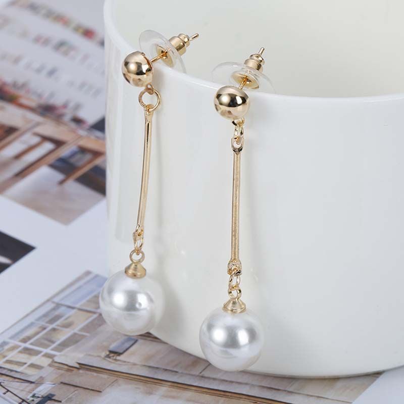 Korean Simulated Pearl Long Tassel Bar Drop Earrings For Women OL Style Sweet Dangle Brincos Party Jewelry Gift Wholesale EB478 6