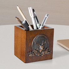 Office Storage Wood Pen Holder With Deer Head Home School Wooden Desk Pencil Holder Organizer Creative Office Desk Accessories studio designs home office wood desk carousel black