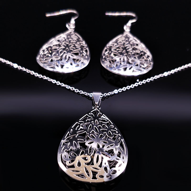 2018 Stainless Steel Jewerly Sets for Women Silver Color Flower Earrings Necklace Set Jewellery pendientes mujer moda S178375