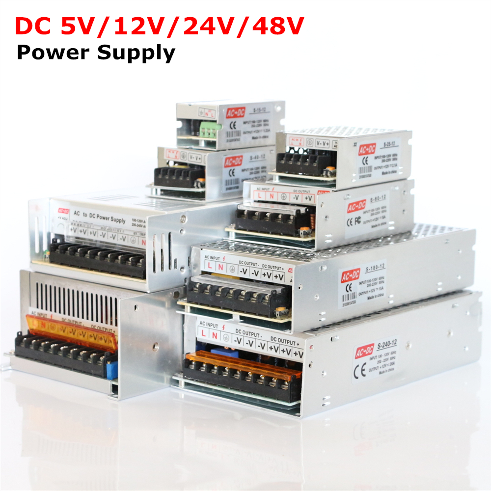 AC85-265V 110V 220V to <font><b>DC5V</b></font> 12V 24V <font><b>48V</b></font> 1A 2A 3A 4A 5A 6A 8A 10A 15A 20A 30A 40A LED Strip Power Supply DC Adapter Transformer image