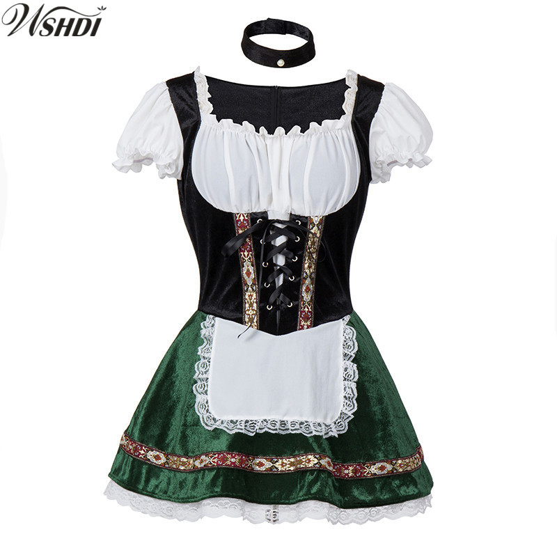 2018 Carnaval Festival October Dirndl Maid Costume German Wench Uniforms Oktoberfest Beer Girls Party Fancy Dress