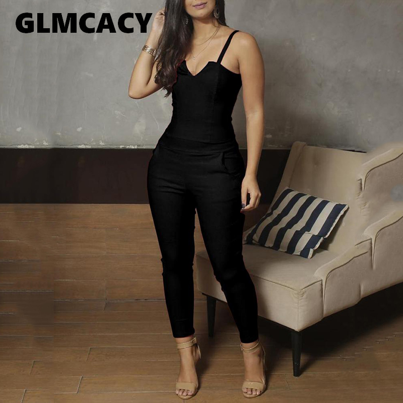 Women Spaghetti Strap V-Cut Slinky Jumpsuits Ladies Solid Color Casual One Piece   Romper   Eletant Jumpsuit Overalls
