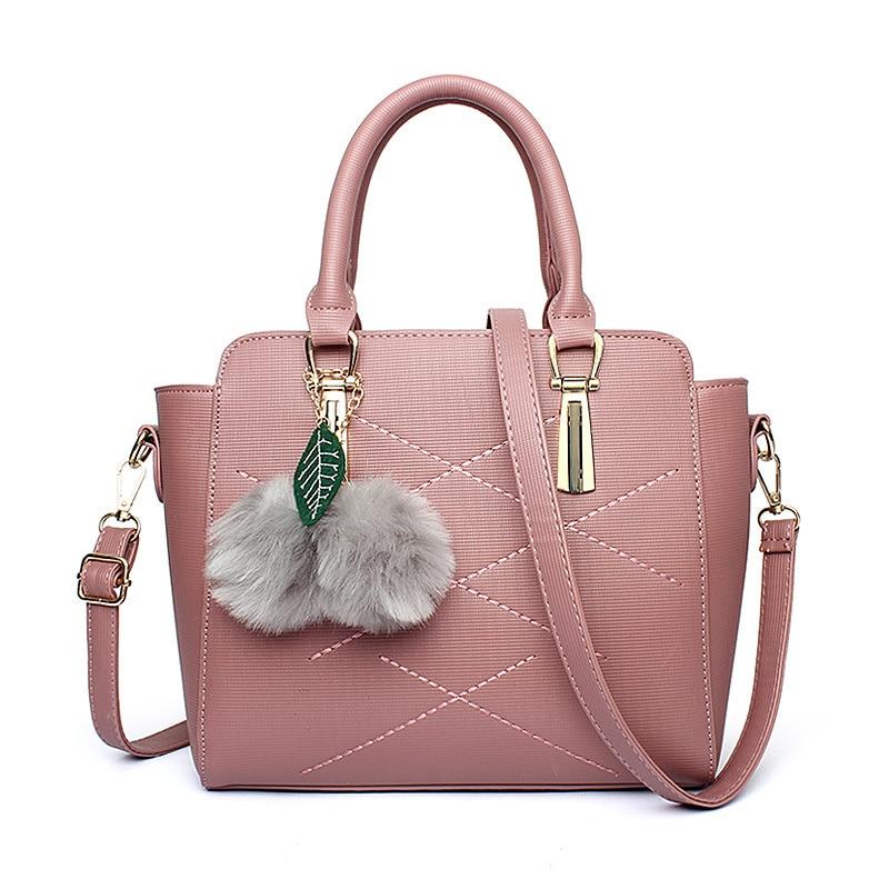 Fashion Casual Dark Pink PU Women Bag Office Lady Handbag Tote Crossbody Messenger