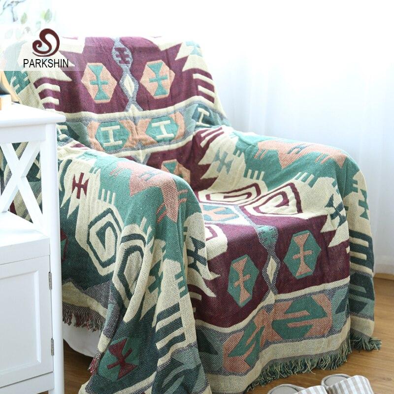Parkshin High Quality Blanket 100% Cotton Plaid Green Knitted Bedspread For Sofa/Bed/Home 130cmX180cm Blanket  цены