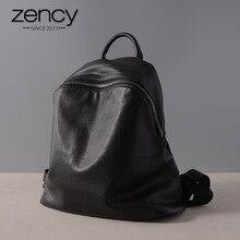 Zency Cowhide 100% Genuine Leather Black Women Backpack Vint