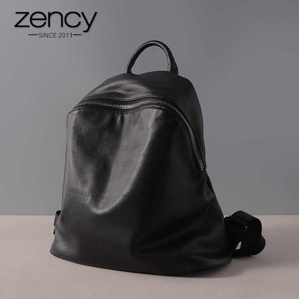 Zency peau de vache 100% en cuir véritable noir femmes sac à dos Vintage voyage sacs cahier cartable pour les filles quotidien vacances sac à dos