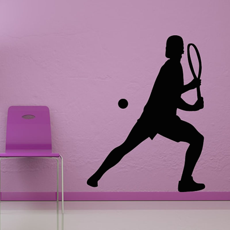 Vinyl Art Wall Decal Home Decor Playing Tennis Wall Sticker Waterproof Self Adhesive For ...