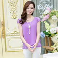 Short Sleeve Shirt Women 2016 New Summer Fashion O Neck Casual Lace Bilayer Chiffon Blouse Ladies Tops Plus Size Clothing